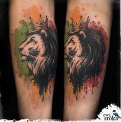 Watercolor lion tattoo by Ewa Sroka