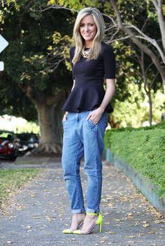 peplum top + boyfriend jeans + neon heels = perfect