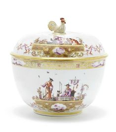A rare Meissen large circular tureen and cover, circa 1735