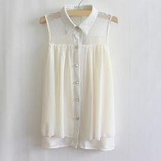 Vintage Polo Collar Sheer Mesh Sleeveless shirt