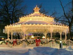 Another reason I would like a gazebo! A lovely elegant lighted gazebo on the town green! You could do this in your own gazebo at home! Merry Little Christmas, Noel Christmas, Outdoor Christmas, Winter Christmas, Christmas Lights, Vintage Christmas, Christmas Decorations, Christmas Wedding, Gazebo Decorations