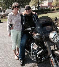 "Stan Ellsworth of ""American Ride"" with a fan in Charlottesville, VA"
