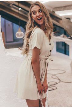 Simplee Vintage button women dress shirt V neck short sleeve cotton linen short summer dresses Casual korean vestidos 2019 festa Short Summer Dresses, Summer Dresses For Women, Short Sleeve Dresses, Dress Summer, Linen Dresses, Cotton Dresses, Casual Dresses, Women's Casual, Dress Outfits