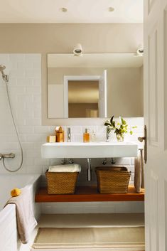 The renovation of two apartments together to create a large family space - PLANETE DECO a homes world Bathroom Vanity Tray, Laundry In Bathroom, White Bathroom, Nordic Interior, Interior Decorating, Interior Design, Beautiful Bathrooms, Ideal Home, Sweet Home