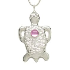Sterling Silver Pink Sapphire Tortoise Pendant Necklace 18 Inch