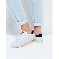 adidas Originals Primeknit White And Navy Stan Smith Sneakers (€89) ❤ liked on Polyvore featuring shoes, sneakers, white, adidas shoes, white flyknit trainer, lace up sneakers, white high top sneakers and white high top shoes