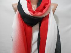 Ombre Scarf Shawl Beach Wrap White Red Blue Cowl by MiracleShine, $26.00