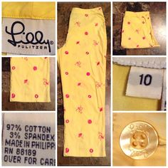 "Lilly Pulitzer Capri Pants Lilly Pulitzer Capri Pants are made of 97% Cotton and 3% Spandex. The Color is Yellow. Size 10. Length ""34.5. Inseam ""23. Rise ""10.5. Laying flat ""14.5. This Item is In Good condition, Authentic and from a Smoke and Pet free Home. Offers through the offer button ONLY. I Will not negotiate the price in the comment section  Thank You Lilly Pulitzer Pants Capris"