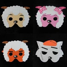 goat masks Eva Game, Goat Mask, Billy Goats Gruff, School Play, Yang Yang, Cartoon Styles, Masquerade, Masks, Classroom