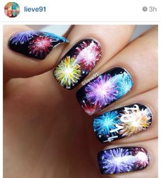 New Years fireworks nails #nails #manicure #fancy #newyears