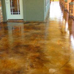 Stained concrete porch likey! @Amy Lyons Mansell...I want to do this in my entryway. I have grout!