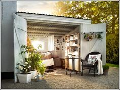 Springhouse... http://www.amazinginteriordesign.com/transform-your-garden-shed-or-greenhouse-into-a-relaxing-retreat/