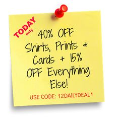 40% off Shirts, Prints & Cards - Today only