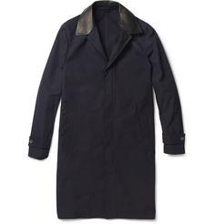 LanvinLeather-Trimmed Cotton Coat