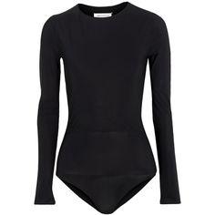 Maison Margiela Layered stretch-jersey bodysuit ($345) ❤ liked on Polyvore featuring intimates, shapewear, bodysuits and black