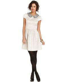Kensie Dress, Short-Sleeve High-Neck Beaded Brocade A-Line - Womens Dresses - Macy's