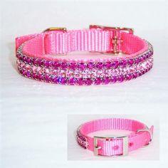 Kitten Cat Metallic Diamonte Charm PET Collars Purple Pink Silver Blue Hot Pink
