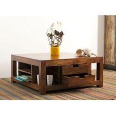 Couchtisch Holz  Couchtisch Massiv Palisander kolonial Möbel 4 Schubladen 90x60cm Neu OVP KC26