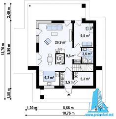 Proiect de casa cu doua etaje,acoperis plat si terasa de vara amenajata la sol -100960     Proiectari si Constructii House Front Design, Floor Plans, Modern, Floor Plan Drawing, House Floor Plans
