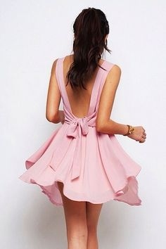 Pretty pink bow in back dress