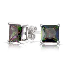 Bling Jewelry Square Simulated Rainbow Topaz CZ Mens Sterling Silver Stud Earrings - The Sterling Silver Com Mens Silver Earrings, Topaz Earrings, Sterling Silver Jewelry, Stud Earrings, Square Earrings, Mystic Fire Topaz, Rainbow Topaz, Thing 1, Topaz Color
