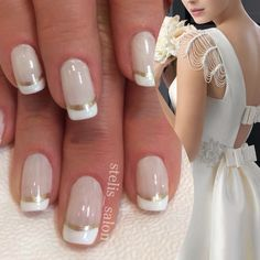 Steli's double french manicure in white and gold paired with bridal gown of ivory and bows.