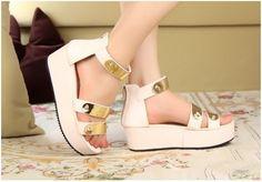 Women Metallic Stud Punk Thongs Sandals Shoes Platform High Heels Wedge Peep Toe | eBay