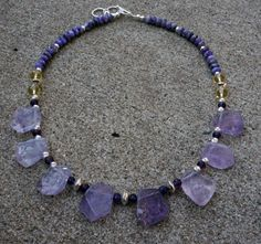Natural Amethyst crystal, yellow Citrine, purple Charoite gemstone statement necklace in Fine & Sterling Silver. A Bib or Collar Necklace.