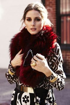 patterned dress with fur collar - Olivia Palermo -VOGUE
