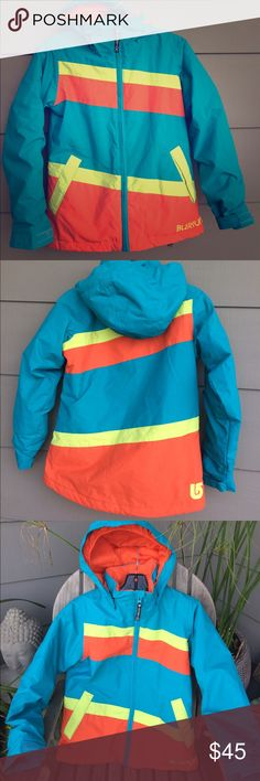 Burton girls ski jacket Beautiful bright colored girls Burton Hart jacket. Waterproof and breathability with Thermacore for warmth. Oversized helmet friendly hood.  Great for the mountains or just a warm school jacket.  New.  They cost $139 online. Burton Jackets & Coats