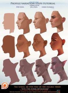 Profile variation steps tutorial pack .promo. by sakimichan.deviantart.com on @DeviantArt