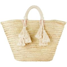 Giselle Women's Ilaria Fringe Tassel Tote Bag found on Polyvore featuring bags, handbags, tote bags, ivory, leather tote purse, woven tote bags, genuine leather tote, leather tote bags and handbags totes