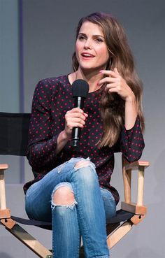 Keri Russell- ripped jeans with pink blue polka dot top