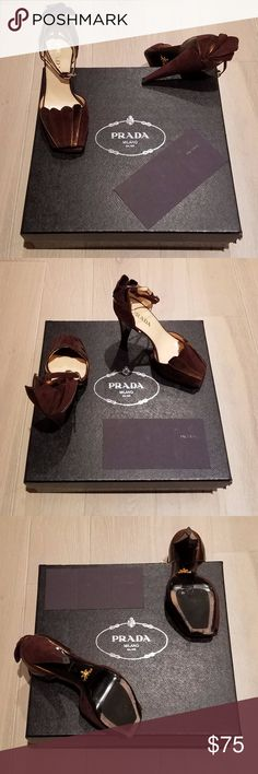 PRADA Calzature Donna Camoscio + Taffet authentic. gently used. beautiful, smooth chocolate suede & patent closed toe sandal. great year round. purchased from nordstrom. comes in original box. no dust cover. Prada Shoes Heels