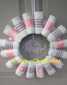 Chevron Baby Diaper WreathPink and Gray by ACozyChickadee on Etsy, $30.00