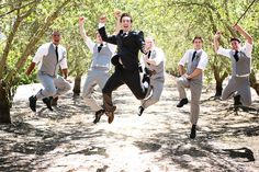 Excited Groom & Grooms-men. #weddings #guysjustwannahavefun Photo by: @KoriandJaredPhotography Kayla_Kori_BridalCoutureMag