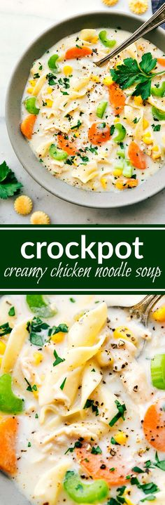 A delicious and creamy chicken noodle soup packed with veggies and made easy in the slow cooker. Healthy, hearty, and filling. Crock Pot Soup, Crock Pot Slow Cooker, Crock Pot Cooking, Slow Cooker Recipes, Cooking Recipes, Crockpot Ideas, Batch Cooking, Healthy Recipes, Chicken Salad Recipes