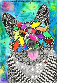 """Whimsical  Zentangle® Inspired design named """"Pembroke Welsh Corgi"""" finished 9-6-14. A 12-pack of note cards are available for $23.00 with FREE shipping and handling. Prints also available."""