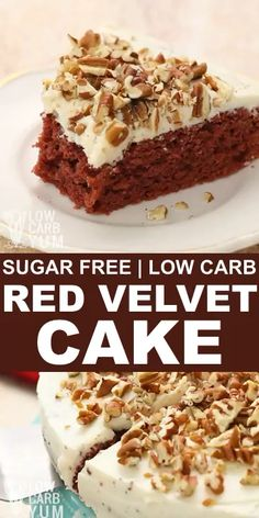 An easy to make gluten free and sugar free red velvet cake that's made from scratch. It's made with low carb flours and topped with a keto friendly cream cheese frosting. low carb dessert recipes // k Keto Desserts, Gluten Free Desserts, Easy Desserts, Dessert Recipes, Dinner Recipes, Diabetic Desserts Sugar Free Low Carb, Protein Desserts, Easy Snacks, Breakfast Recipes