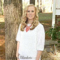 The Spring Breeze Sweater Blouse is perfect for ANY season! The open stitching makes it cool and light for spring or summer and with a thicker yarn and smaller hook it can also be made for fall and winter!