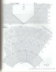 แบบ เสื้อ Crochet เสื้อแขนสามส่วน (84) | ❤ Pra Did Pra Doi รวบรวมงานโครเชต์