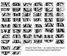 Elegant Split Alphabet PES JEF VIP xxx and by CapturingTheHeart