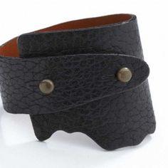 Bison Genuine Wide Wrap Elegant Leather Bracelet - Black Color