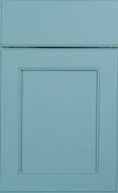 Larchmont Recessed door style by #WoodMode, shown in Designer Opaque Caribbean Mist on maple. Wood Mode