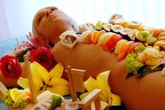 sensual food play ♥ Originally, it's Japanese ancient tradition, it's called body sushi. But nowadays, spouse could also enjoy this unusual dining experience with other kinds of food (e.g. raw vegetables, fruits, dips, desserts, etc.) placed on the partner's body. Bon Apetité