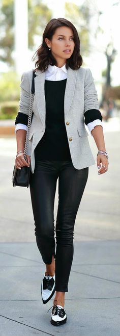 Daily New Fashion : LEATHER & TWEED - black leather Janice ultra skinny pants, speckled gray hacking jacket by Vivaluxury