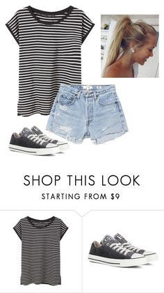 """Summer days"" by cierraeager ❤ liked on Polyvore featuring MANGO, Converse and RE/DONE"