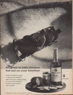 "1961 WALKER'S DELUXE vintage print advertisement ""It's great to take chances"" ~ It's great to take chances but not on your bourbon. Walker's DeLuxe is aged in charred-oak casks for eight long years, twice as long as many other bourbons. Its extra years make it extra mellow. Straight Bourbon Whiskey * 8 years old * 86.8 proof * Hiram Walker & Sons Inc., Peoria, Illinois ~"