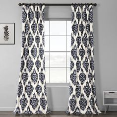 Add style and elegance to your living space by choosing this durable Exclusive Fabrics & Furnishings Ikat Blue Room Darkening Printed Cotton Curtain. Ikat Curtains, Curtains 1 Panel, Cotton Curtains, Rod Pocket Curtains, Room Darkening Curtains, Drapery Panels, Colorful Curtains, Grommet Curtains, Rustic Curtains