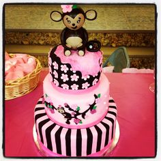 Monkey girl baby shower cake - pink and brown